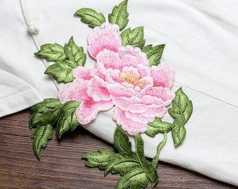 Pink Flower Patches, Sew on Patches, Embroidered Appliques