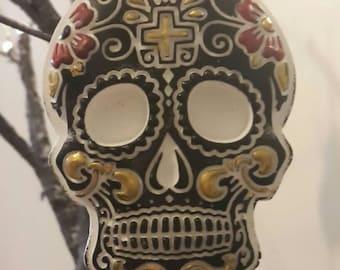 4 black u0026 gold hanging sugar skull decorations gothic christmas tree ornaments halloween tree