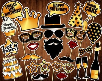 Birthday Photo Booth Props - printable PDF - Black and Gold - Birthday Party Supplies - Instant Download