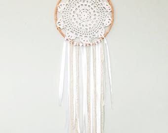 Coral lace dream catcher