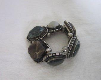 Vintage Silver & Polished Stones Large Stretch Bracelet