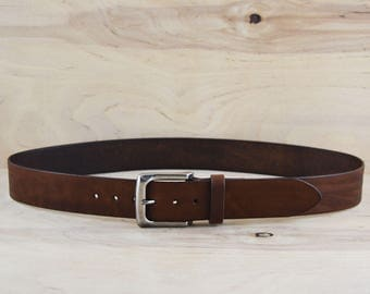 Vegetable tanned, Full grain Leather belt, Dark brown, Silver buckle, Saddle stitched keeper, For men women, Husband son gift, 1 1/2'' wide