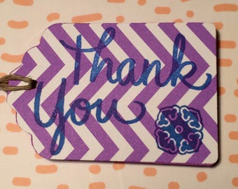 "Pink Floral ""Thanks""  Paper Gift Tag"