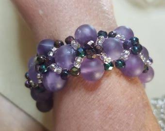 Natural Amythist Woven Bracelet