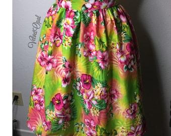 Tropical Tiki Pin Up Gathered Skirt