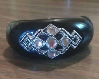 Bangle bracelet, art deco bangle bracelet, rhinestone fashion bangle bracelet, costume jewelry bracelet, costume jewelry