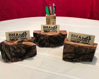 Rustic Mesquite Business Card Holders
