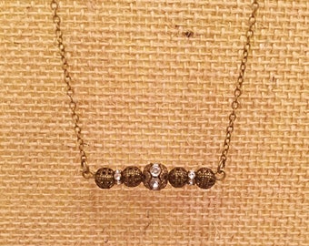Short choker style antique brass bar necklace with beautiful rhinestone beads // Gift for her