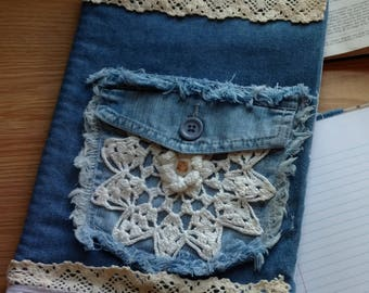 Kitten Doily Cover Denim Journal, Composition, Notebook Cover, Jacket, Reusable, Bible Cover