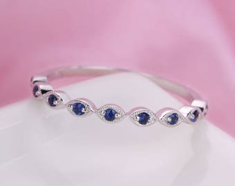 art deco wedding band vintage women Sapphire marquise white gold half eternity band milgrain minimalist simple stacking stackable matching