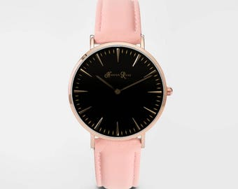 Ladies Watch, Women Leather bracelet, minimalist, gift for her, cheap leather watch, Christmas Watch, Pink Leather (Rose Gold/Black)