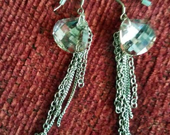Smoky crystal and chain earrings
