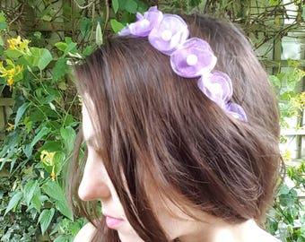 Shades of purple organza Alice headband handmade organza flowers headband