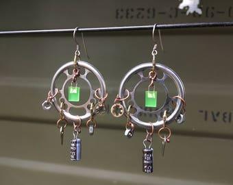 Electronic component earrings, capacitor earrings, recycled technology jewelry, retro technology earrings, cyberpunk jewelry, geek gift