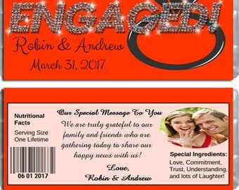 Engagement Wrappers For Hersheys Chocolate Bars / Engaged Diamonds Design Personalized Candy Bar Wrappers
