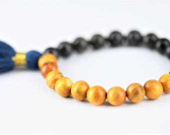 Labradorite Mala Natural Stone Stretch Bracelet with Yoga Om Charm