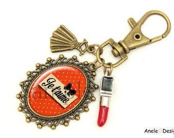 I love red lipstick red keychain