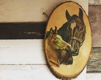 Vintage Horse Plaque // Qualla Reservation Wall Plaque // Cherokee Wood Chip Art