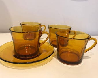 4 Large Vintage Retro Duralex French Amber Glass Tea cups with one saucer