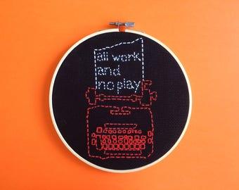 The Shining Typewriter Modern Embroidery Hoop Art