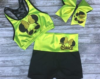 Minnie Mouse Dance Outfit,Girls Minnie Mouse Dancewear,Dancewear,Minnie Mouse Dance Clothes,Girls Dancewear,Dance Clothes,Activewear,Dance