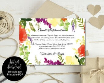 Wedding Guest Information Template, Editable Wedding Guest Information, Text Editable Template Printable, Watercolor Flower Border 2 INFO-2