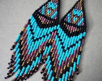 Handmade beaded earrings, fringe earrings, long earrings, seed bead earrings, turquoise earrings, woman gift, beaded jewelry,birthday prsent