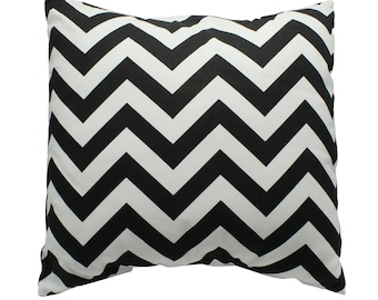 "Black and white chevron pillow, black and white cushion, 15"" x 15"" cushion, zig zag pillow cover, zig zag throw pillow, handmade pillow"