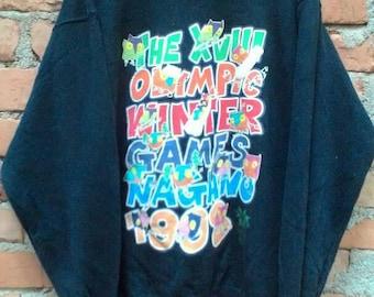 Vintage 90s NAGANO 1998 Sweatshirt The XVIII Olympic Winter Games Logo Mascott