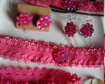 pink jewelry set and hair accessory lot, jewelry lot