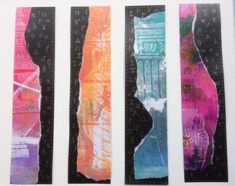 Set of four bookkeepers with monoprint and Greek alphabet