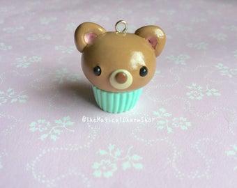 Cute teddybear miniature clay cupcake charm