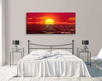 seascape Red Sky Sunset Ocean Abstract Panorama Canvas Wall Art Home Decor