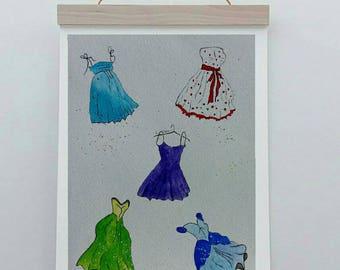 Original watercolor set of dresses girls room