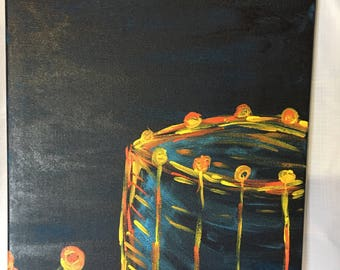 Drum painting, colourful drum painting, musical intrument painting, drum art, musician painting, musical art, musical decor, boys room decor