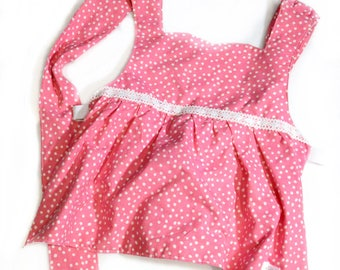 Princess Apron - Pink Polka Dots - Kid's, Child's Apron - Preschool, Toddler - Costume, Dress-Up