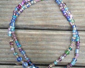 Light blue and lavender anklet set
