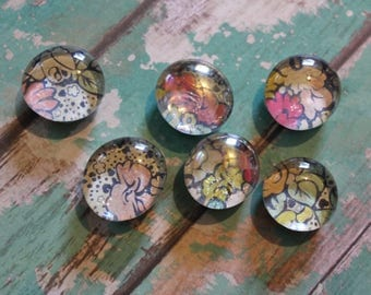 Decorative Glass Magnets Floral Pattern - Set of Six