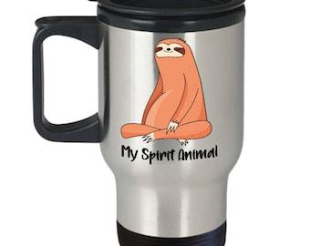 Sloth Travel Mug - Sloth Tumbler - Sloth Coffee Mug - Cute Sloth Gift Idea - Spirit Animal Mug - Funny Sloth Mug - Gift For Sloth Lover