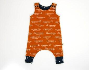 Harem romper, planes, organic baby clothes, toddler clothes, gift for baby, gift for toddler