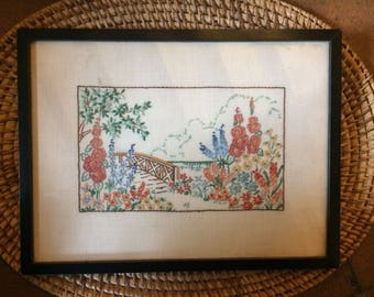 Pretty little vintage embroidered picture