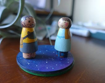 Custom Hand-Painted Travelling Wooden Figures (Peg Dolls and Location Plates Set)