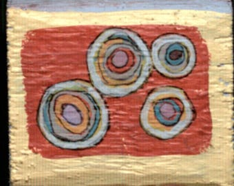 Two Sided Small Block - Abstract Circles/Echinacea.