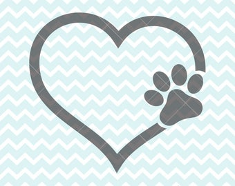 I Love My Dog SVG & PNG, Paw in Heart Svg and Clipart, Dog Love Clipart, svg Originals, I Love My Dog Clipart, Commercial Use