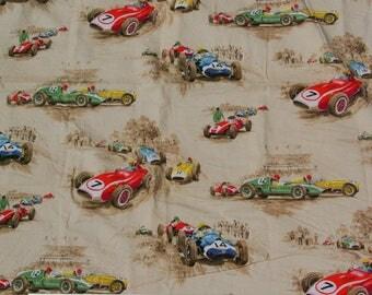 Vintage race car bark cloth fabric