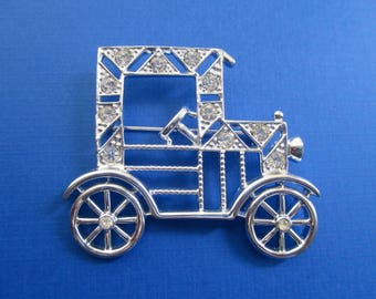 Vintage Car Pin - Automobile with Rhinestones - Designer Signed Emmons
