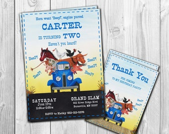 Little Blue Truck Invitation, Little Blue Truck Birthday, Little Blue Truck Invite, Party, Printables, Custom, FREE  Thank You Card