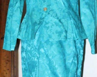 1990's Blue Jacquard print skirt suit