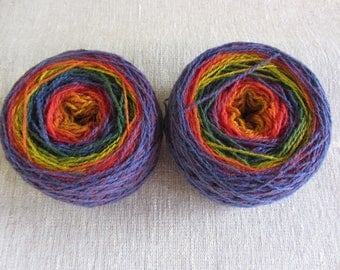 199 gr artistic 8/2 yarn, rainbow 100% pure lambswool, for hand and machine knitting