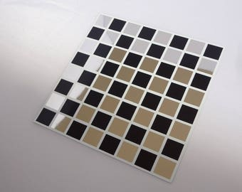 Pack of 10 Black and MIRROR mosaic tile stickers transfers, with added gloss affect, just peel and stick, bathroom kitchen